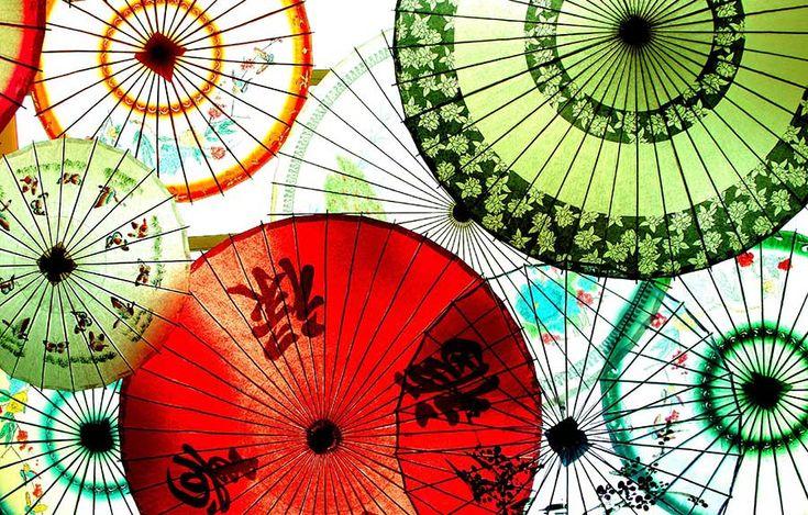 Translucent Chinese umbrellas