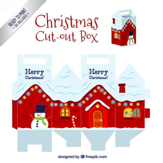Snowy christmas house box I Free Vector