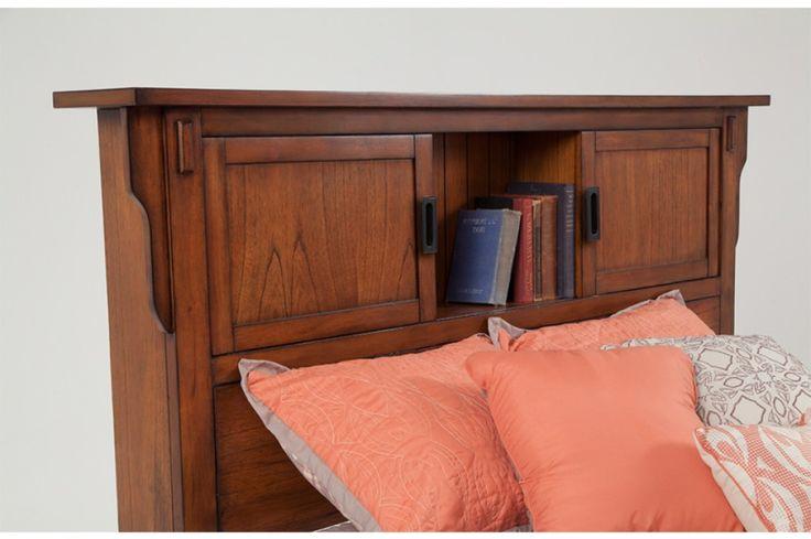 Mission Oak Queen Storage Bookcase Bed | Beds & Headboards | Bedroom | Bob's Discount Furniture