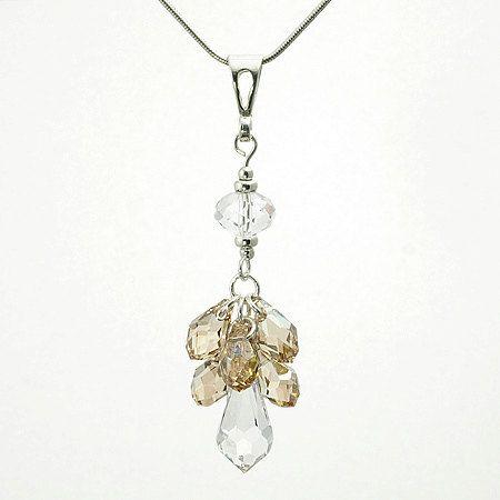 Sterling Silver Necklace, Wedding Necklace, Wedding Jewelry, Bridal Necklace, Bridal Jewelry,  Crystal Pendant, Swarovski Elements by modotikon on Etsy