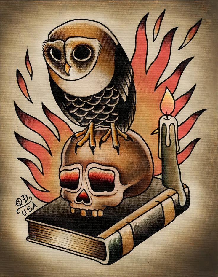 Old School - Coruja - Owl - Buho - Crânio - Skull - Livro - Book - Vela -  Instagram @tiagomortis - https://www.instagram.com/tiagomortis/