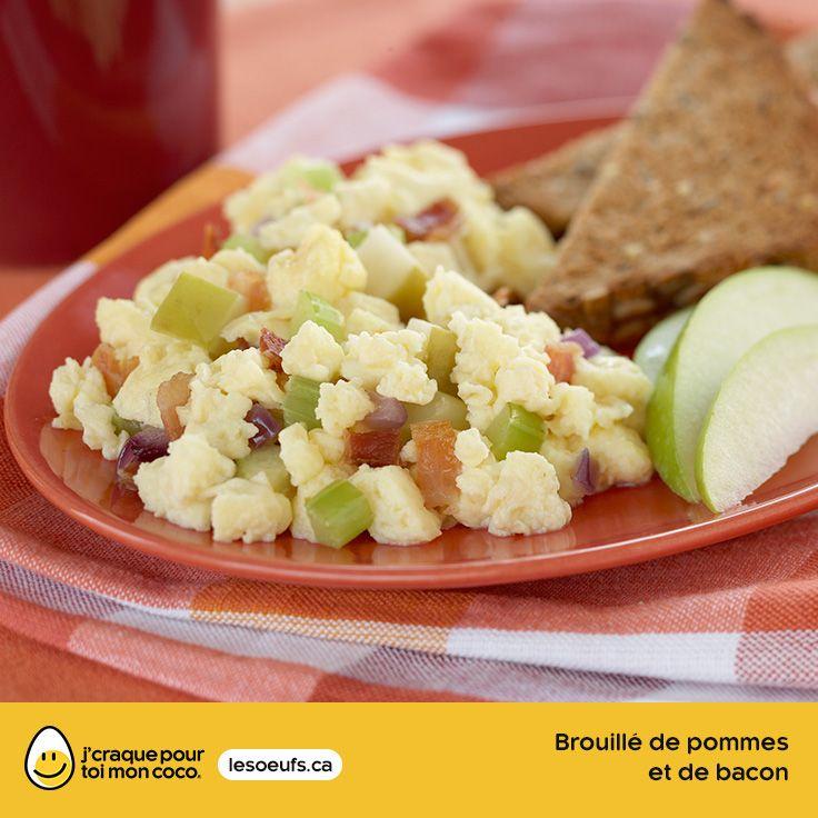 Brouillé de pommes et de bacon | lesoeufs.ca | #Oeufs #Bacon #Pomme