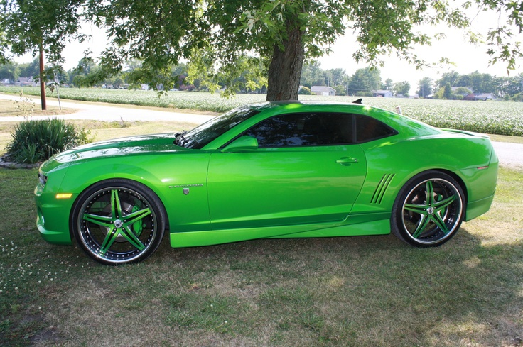 """2011 Synergy Green Camaro with 24"""" rims. My favorites"""
