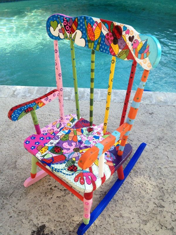 childrens rocking chair hand painted by brushstrokes2inc on Etsy
