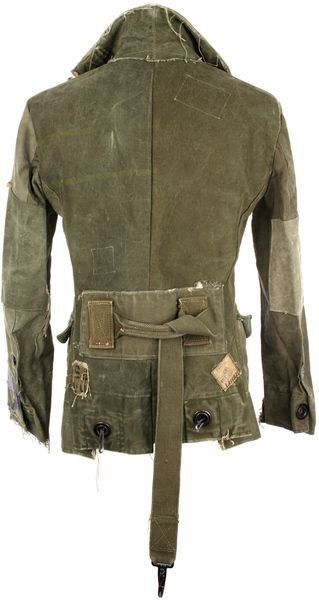 Steampunk / post apocalyptic jackets designed by Greg Lauren, who is a comic book artist and nephew of Ralph Lauren. They are made of old military tents and duffle bags.