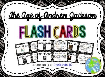 "Andrew Jackson Flash Cards •★★ This flash card set is a great activity to use for review. I print out a few sets, laminate back to back and have the students use them for review before a test/exam. Or, you can have the students utilize them if they ""finish early!"""