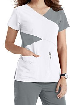 Grey's Anatomy Signature 4 Pocket Mock Wrap Color Block Scrub Tops
