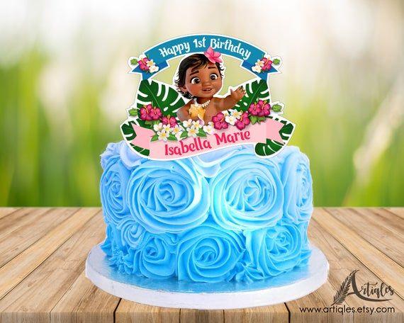Baby Moana Personalized Cake Topper Centerpieces & Table Décor Kitchen Décor