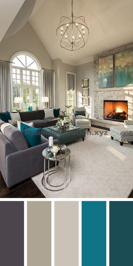 Decoração do quarto – 7 belos diagramas de cores para sua sala de estar   – Haus wohnzimmer