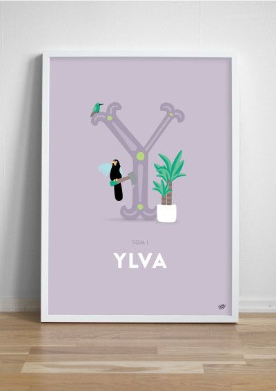 Namntavla Bokstaven Y - Yuccapalm, yucatanskrika och den lilla kolibrin yungasbriljant.