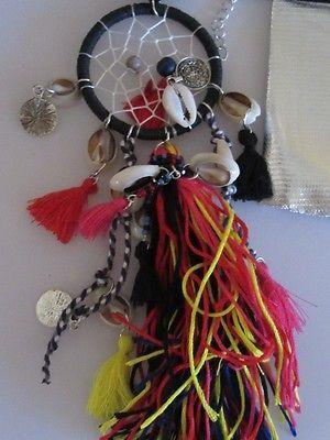 Collier sautoir attrape reve style indien rouge et noir et pompons avec sac LOL