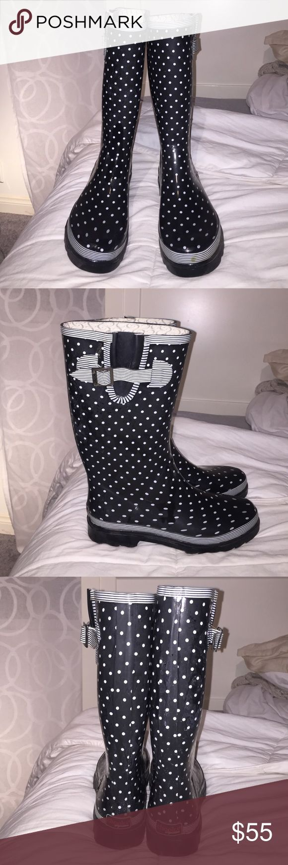 Chooka Rainboots ☔️ Too Solid Rain Boot - Polka Dot Black and White. Small stain on front left toe (shown in picture). We are not getting much rain out here in Cali so someone else please put these to use :) Chooka Boot Shoes Winter & Rain Boots