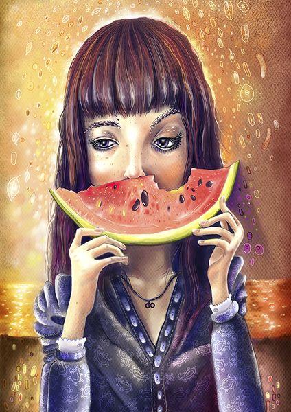 «Watermelon smile». Фил Дунский.  #helloposter #poster #posters #art #modernart #printart #illustrators #illustration