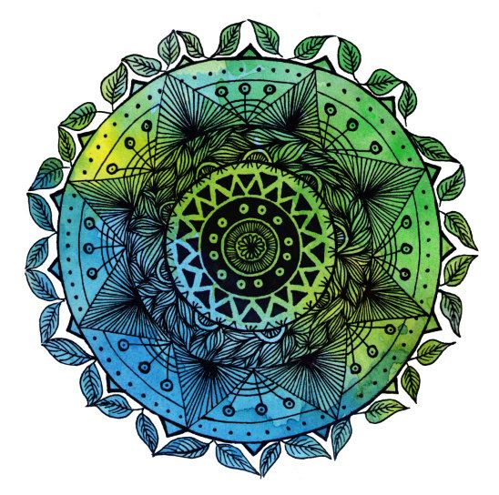 Bright Blue multi tone mandala with watercolour background while mandalas have similar aspects, no two are ever the same. mandalas in both the