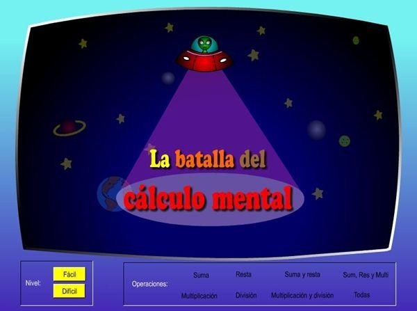 """""""La batalla del cálculo mental"""" juega con el cálculo mental de suma, resta, multiplicación y división, o dos de ellas, o tres conjutamente, o las cuatro. Tiene dos niveles de dificultad. ¡Gana la batalla! Se puede utilizar, por las diversas situaciones de dificultad, desde 1º a 6º de Primaria."""