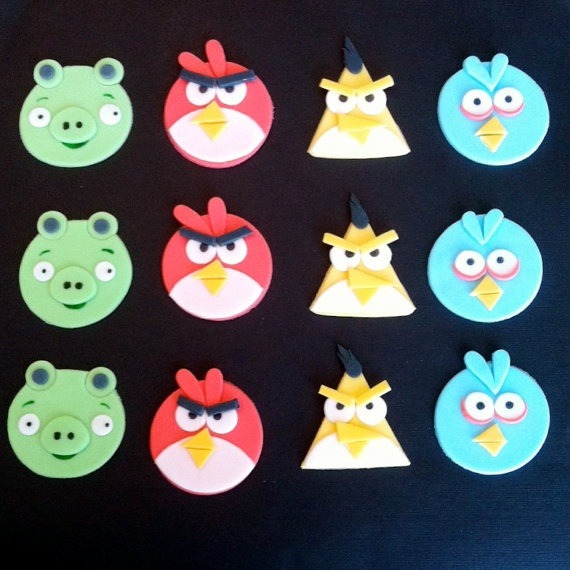 angry bird cupcake toppers.. gotta do something like this for Jude's next birthday