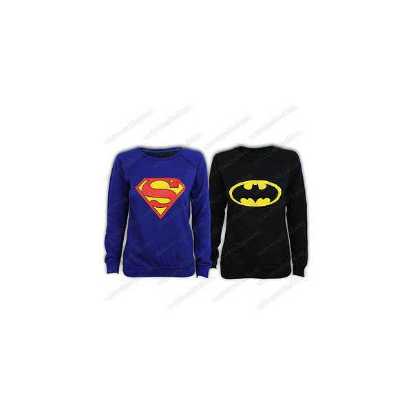 Sweat Shirt Femme Pull Imprime Motif Super Heros Superman Batman... ❤ liked on Polyvore featuring tops, hoodies, sweatshirts, shirts, sweaters, batman, chemise top, blue chemise, blue shirt and superman shirt
