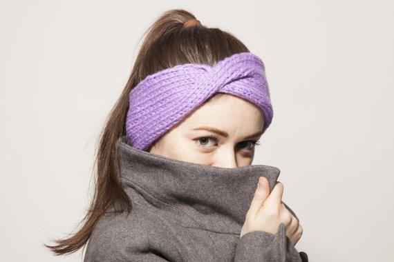 Ready to ship: Lavender Turban Ear Warmer Headband, Boho Knit Headband, Turban Headband Ear Warmer, Knitted Head Band, Turban for Women