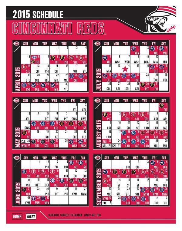 2015 Cincinnati Reds Schedule
