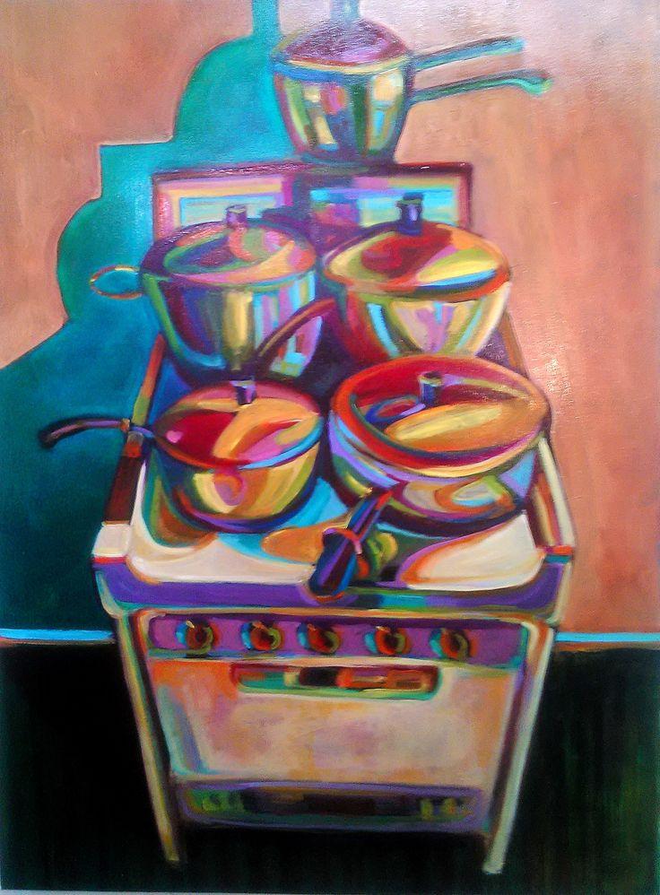 "Lynchburg artist Kelly Mattox, oil painting, ""New Stove"", 30x40 at the 2015 Lynchburg Art Festival. http://kmattox.faso.com/"