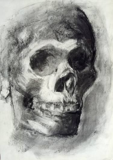 Pirate skull. I made this drawing live from a real skull, I liked to imagine ita was the skull of a pirate. Sometimes I like to use charcoal, beacuse it has something magic in it, even if it is used for drawing I find it very pictorial instead.