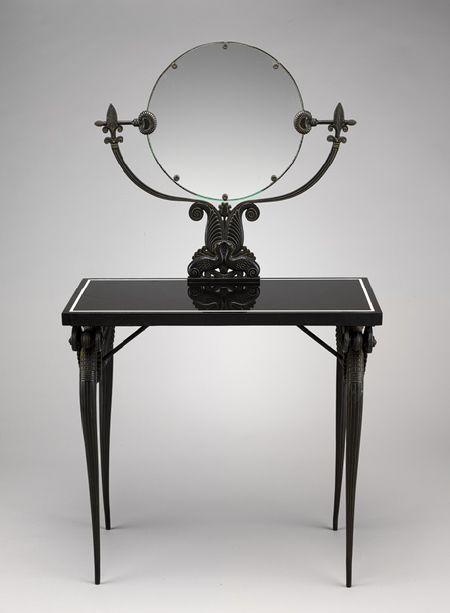 Dressing table, ca. 1925 Armand-Albert Rateau (French, 1882–1938) Bronze, basalt, mirror glass