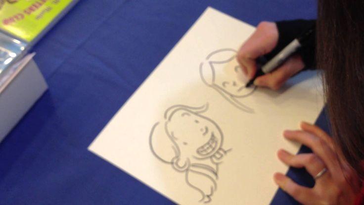 Raina Telgemeier draws Raina from her graphic novel, Smile and Callie from her other novel, Drama.