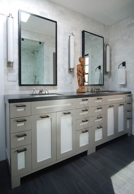 two tone shaker style cabinets wall sconce modern bathroom by mj