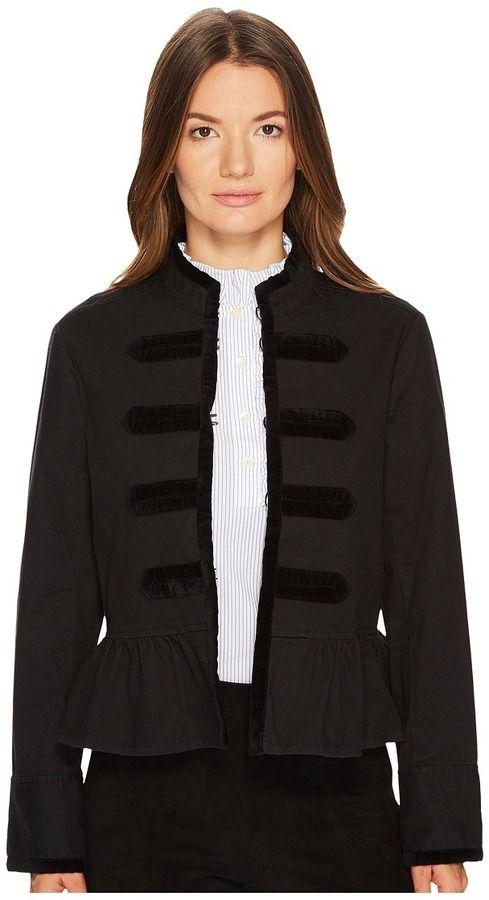 Kate Spade Velvet Trim Military Jacket Women's Coat