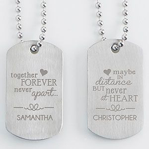"""These are so cute! """"Together forever, never apart ... maybe in distance but never at heart."""" - what a beautiful quote! This is such a great gift idea for people in long distance relationships or for couples in the military!"""