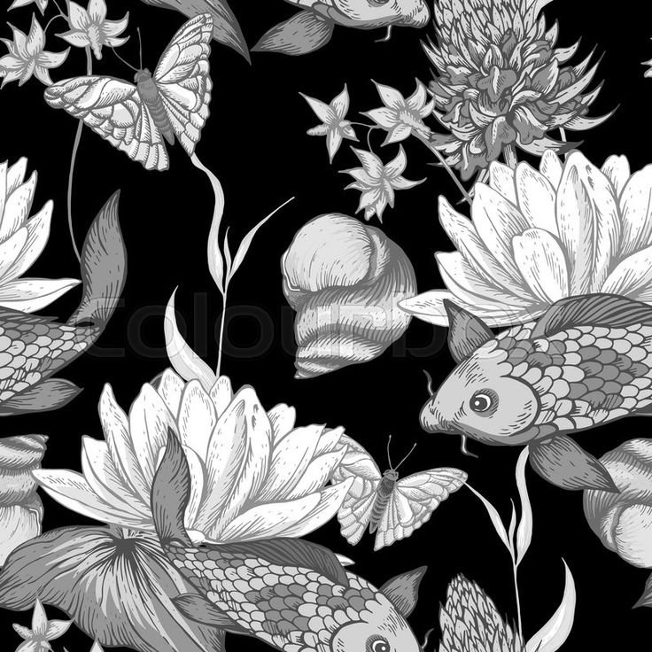 Stock vector of 'Vintage monochrome pond water flowers vector seamless pattern, Botanical shabby chic illustration lily, carp, snail leaves and twigs Floral design elements.'