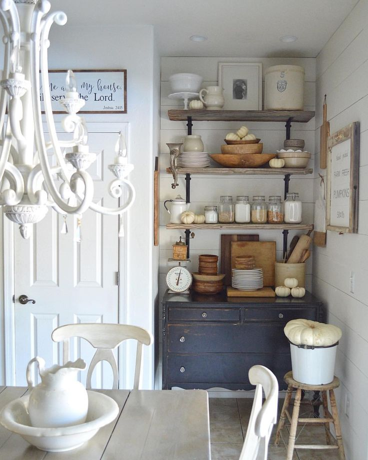 Farmhouse open shelves, chalk painted furniture