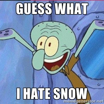 hate snow memes for facebook   calamardo me vale - GUESS WHAT I HATE SNOW