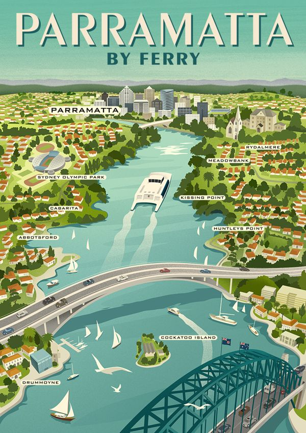 Parramatta River Ferry Poster by Michael Crampton