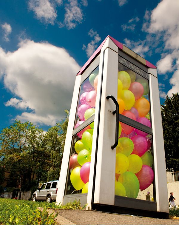 Balloon filled phone booths