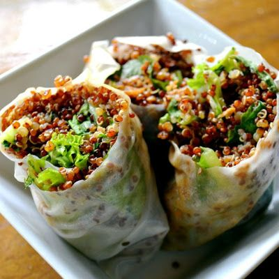 Quick, healthy and great tasting Quinoa Spring rolls filled with greens and a perfectly prepared dressing of rice vinegar, soy sauce, sesame oil minced ginger and garlic.