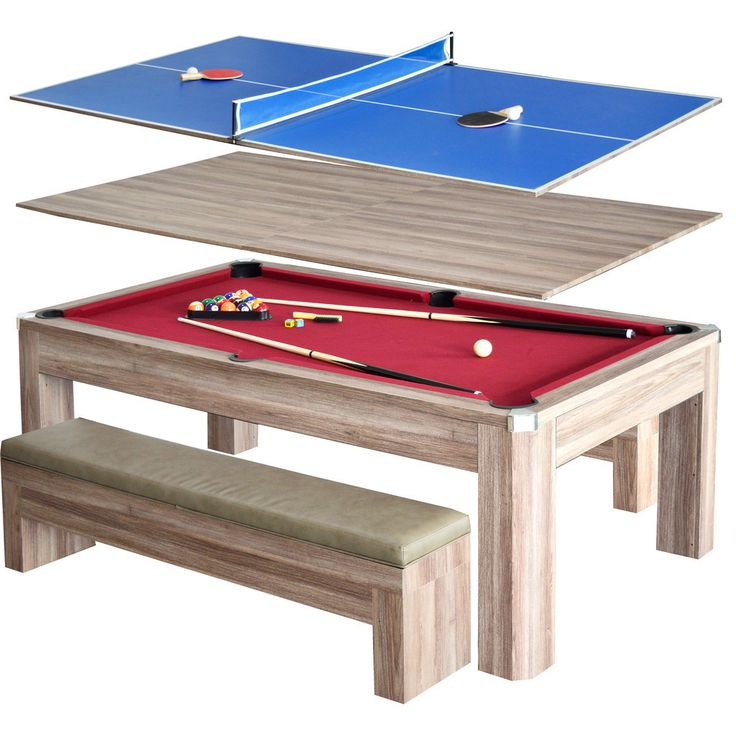 This rustic-style table is covered in a beautiful driftwood melamine that showcases the rich grain of reclaimed wood. The table can easily be converted from a dining or a craft table to a full competitive table tennis or pool table.
