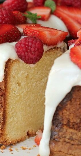 Cream Cheese Pound Cake with Snowy White Glaze