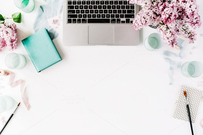 Workspace with laptop and lilac by Floral Deco on @creativemarket