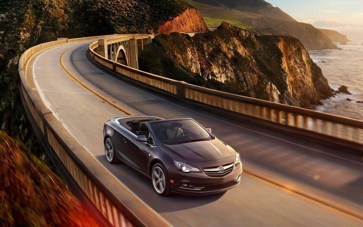 Samochód, Buick, Cascada, Droga, Góry, Most