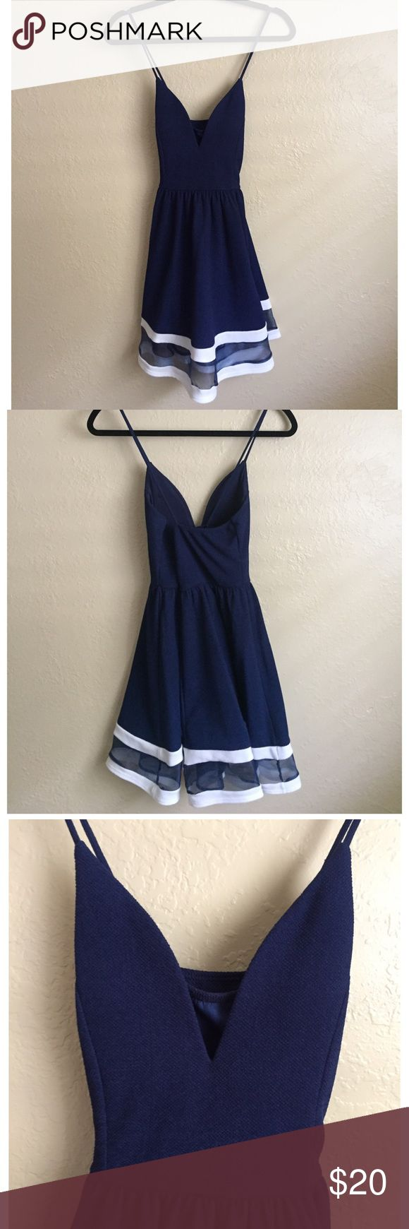 Blue dress with White Striped Hem Worn once and in excellent condition. Racerback straps. Dress has some stretch, very flattering skater skirt shape! True to size. For all other measurements please refer to brand size chart.   ✅ Reasonable offers considered. Please do not ask 'lowest' via comments  ✅ Bundle Discount  🚫 Cannot model item  🚫 No trades  🚫 Low ball offers will be declined a'gaci Dresses