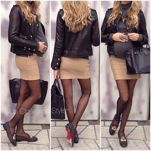 @upcloseandstylish #Iro Leather Jacket, #Marni Knit, #Haute_Hippie Skirt, #HM Maternity Tights, #Louboutin Flats and Hermès 'So black' #Birkin 35.