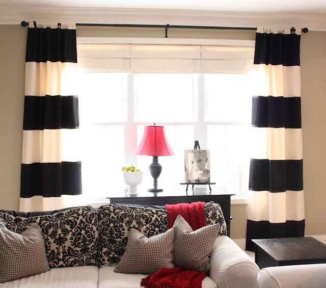 Drapes: Living Rooms, Idea, Bold Stripes, Color Schemes, Black And White, Black White, Stripes Curtains, Diy Curtains, Capes Cod
