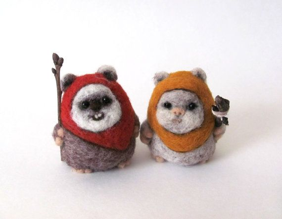 OMG THE CUTENESS! Needle felted Ewok cake toppers