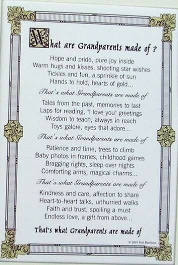 "an ideal gift for Grandparents' Anniversary  with lovely words ""What are Grandparents made of?  Hope and pride, pure joy inside  Warm hugs & kisses, shooting star wishes  Tickles and fun, a sprinkle of sun  Hands to hold, hearts of gold…"""