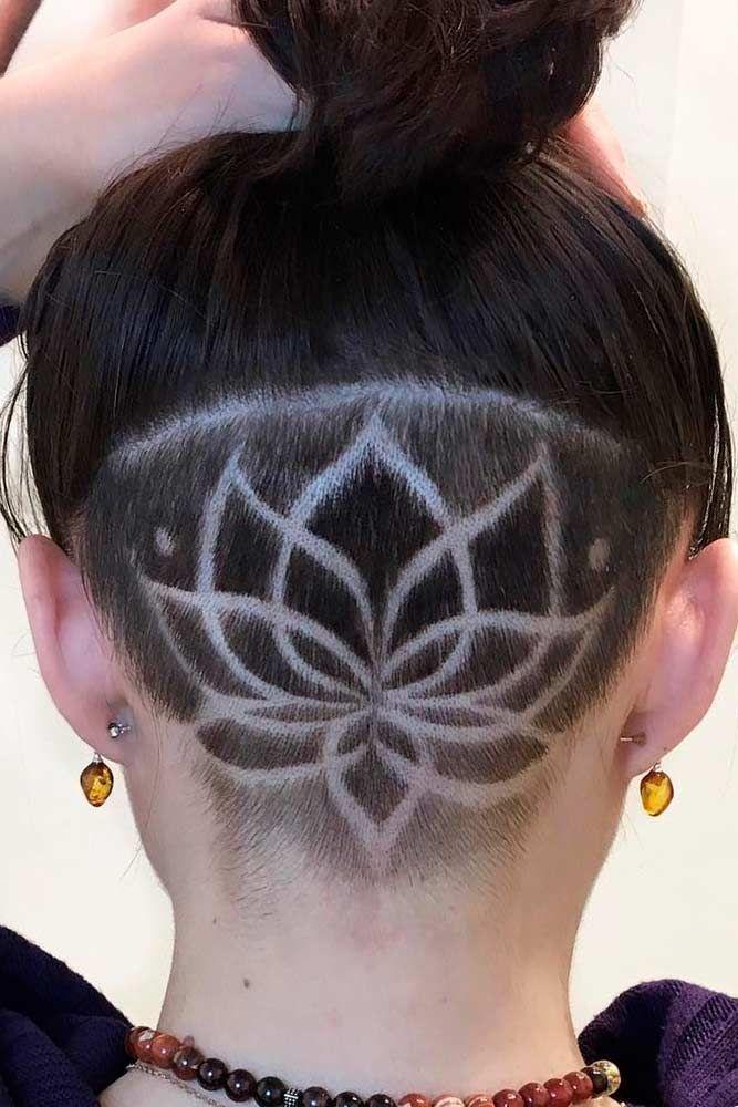 Undercut With Lotus Pattern Longhair Shavinghair Undercut Women Hair Styles Are Super Daring And Undercut Hairstyles Undercut Long Hair Thick Hair Styles