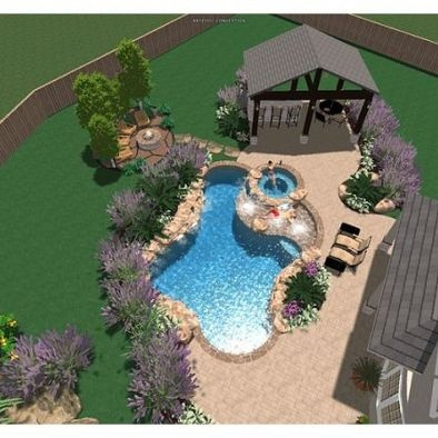 Tropical pool design i want this sooo bad maybe in a few for Decor around swimming pool
