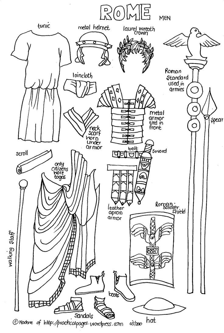 "Ancient Roman Cut-Outs (C1, W5-W6)  Great project for kids to learn some different cultures and make ""paper people"""