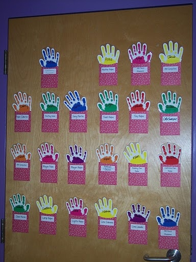 Who's here today chart. Each student puts up their hand when entering the room. Easy on subs... it gets harder and harder for a sub to pronounce names.
