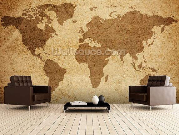 Textured World Map wall mural room setting